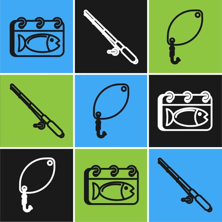 Set line Calendar with a fish, Fishing spoon and Fishing rod icon. Vector