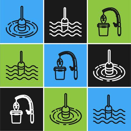Set line Fishing float in water, Fishing rod and fish and Fishing float in water icon. Vector