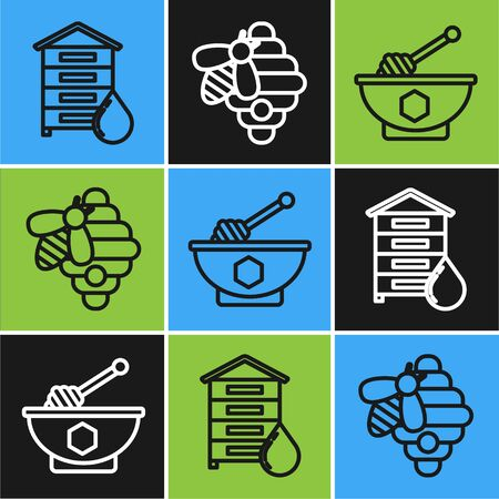 Set line Hive for bees, Honey dipper stick and bowl and Hive for bees icon. Vector