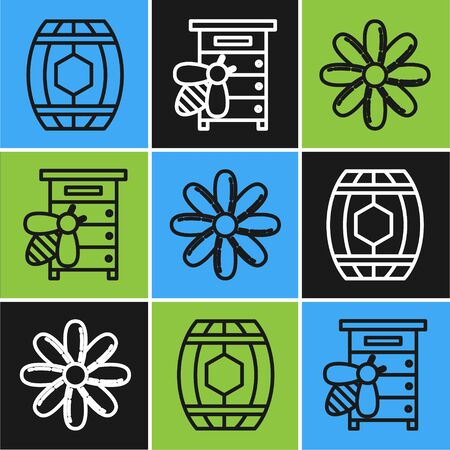 Set line Wooden barrel with honey, Flower and Hive for bees icon. Vector