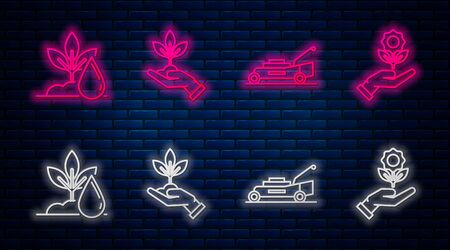 Set line Plant in hand of environmental protection, Lawn mower, Watering plant and Hand holding flower. Glowing neon icon on brick wall. Vector