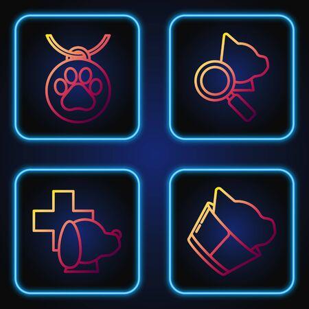 Set line Veterinary clinic symbol, Veterinary clinic symbol, Collar with name tag and Veterinary clinic symbol. Gradient color icons. Vector