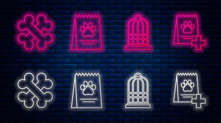 Set line Bag of food for dog, Cage for birds, Crossed bones and Bag of food for dog. Glowing neon icon on brick wall. Vector