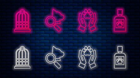 Set line Veterinary clinic symbol, Hands with animals footprint, Cage for birds and Dog medicine bottle. Glowing neon icon on brick wall. Vector