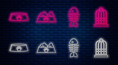 Set line Pet food bowl for cat or dog, Fish skeleton, Pet food bowl for cat or dog and Cage for birds. Glowing neon icon on brick wall. Vector