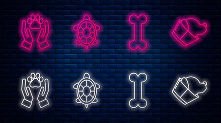 Set line Turtle, Dog bone, Hands with animals footprint and Veterinary clinic symbol. Glowing neon icon on brick wall. Vector