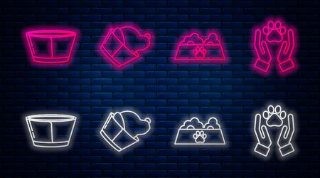 Set line Veterinary clinic symbol, Pet food bowl for cat or dog, Protective cone collar and Hands with animals footprint. Glowing neon icon on brick wall. Vector Vectores