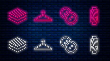 Set line Hanger wardrobe, Sewing button for clothes, Textile fabric roll and Sewing thread on spool. Glowing neon icon on brick wall. Vector
