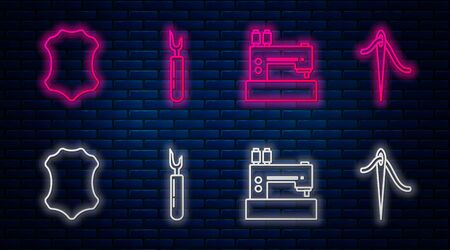 Set line Cutter tool, Sewing machine, Leather and Needle for sewing with thread. Glowing neon icon on brick wall. Vector