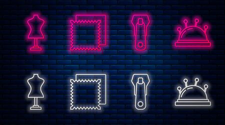 Set line Textile fabric roll, Zipper, Mannequin and Needle bed and needles. Glowing neon icon on brick wall. Vector
