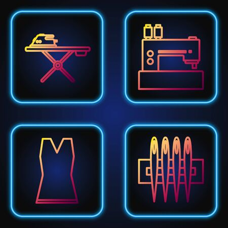 Set line Needle for sewing, Woman dress, Electric iron and ironing board and Sewing machine. Gradient color icons. Vector