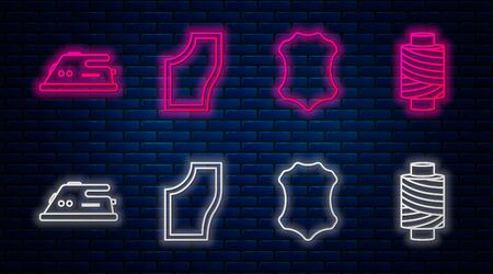 Set line Sewing Pattern, Leather, Electric iron and Sewing thread on spool. Glowing neon icon on brick wall. Vector