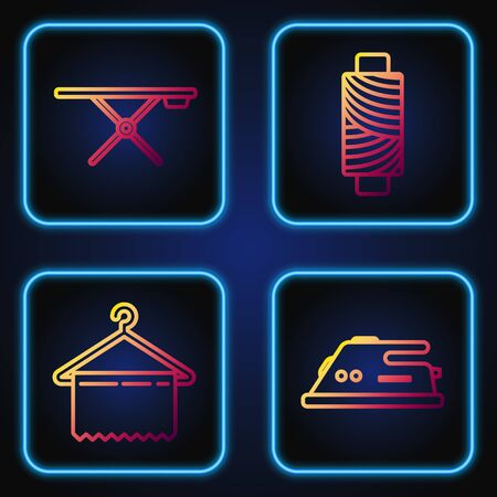 Set line Electric iron, Hanger wardrobe, Ironing board and Sewing thread on spool. Gradient color icons. Vector