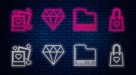 Set line Diamond, Grand piano, Two blanks photo frames and hearts and Shopping bag with heart. Glowing neon icon on brick wall. Vector