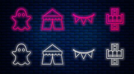 Set line Circus tent, Carnival garland with flags, Ghost and Attraction carousel. Glowing neon icon on brick wall. Vector