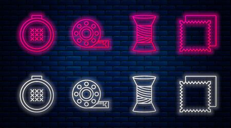 Set line Tape measure, Sewing thread on spool, Round adjustable embroidery hoop and Textile fabric roll. Glowing neon icon on brick wall. Vector