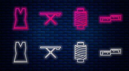 Set line Ironing board, Sewing thread on spool, Woman dress and Tape measure. Glowing neon icon on brick wall. Vector