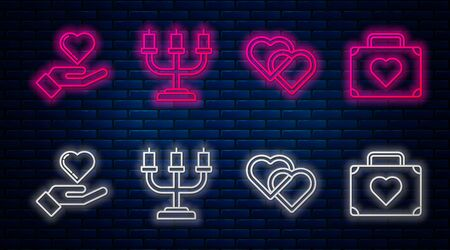 Set line Candlestick, Two Linked Hearts, Heart on hand and Suitcase for travel with heart. Glowing neon icon on brick wall. Vector
