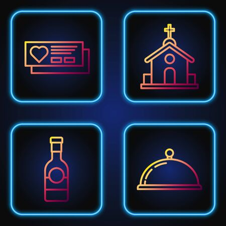 Set line Covered with a tray of food, Champagne bottle, Ticket with heart and Church building. Gradient color icons. Vector