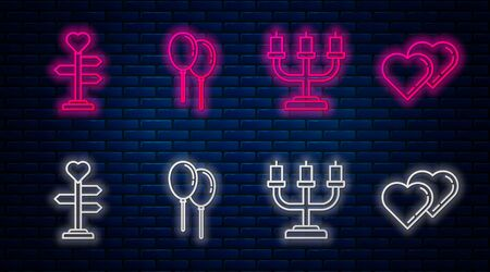 Set line Balloons with ribbon, Candlestick, Signpost with heart and Two Linked Hearts. Glowing neon icon on brick wall. Vector Stock Illustratie