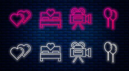 Set line Bedroom, Cinema camera, Two Linked Hearts and Balloons with ribbon. Glowing neon icon on brick wall. Vector