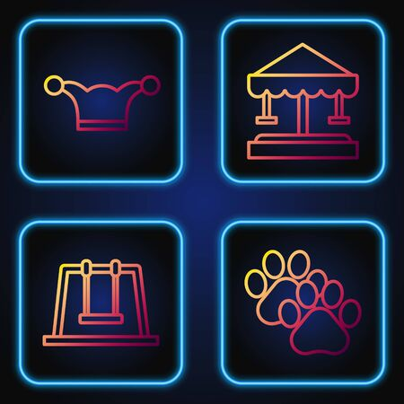 Set line Paw print, Swing, Jester hat with bells and Attraction carousel. Gradient color icons. Vector
