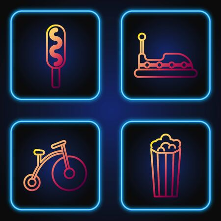 Set line Popcorn in cardboard box, Vintage bicycle with one big wheel and one small, Corn dog and Bumper car. Gradient color icons. Vector