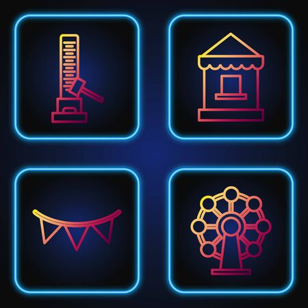 Set line Ferris wheel, Carnival garland with flags, High striker attraction with big hammer and Ticket box office. Gradient color icons. Vector