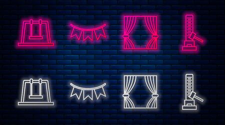 Set line Carnival garland with flags, Curtain, Swing and High striker attraction with big hammer. Glowing neon icon on brick wall. Vector 矢量图像