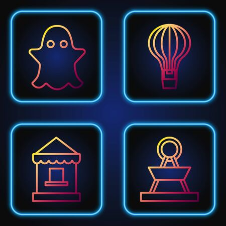Set line Attraction carousel, Ticket box office, Ghost and Hot air balloon. Gradient color icons. Vector