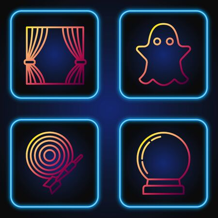Set line Magic ball, Classic dart board and arrow, Curtain and Ghost. Gradient color icons. Vector