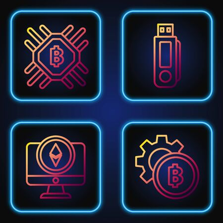 Set line Cryptocurrency coin Bitcoin, Monitor and Cryptocurrency coin Ethereum ETH, CPU mining farm and USB flash drive. Gradient color icons. Vector