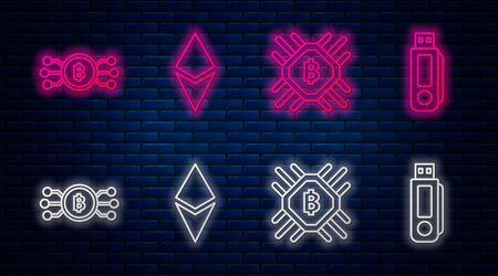 Set line Cryptocurrency coin Ethereum ETH, CPU mining farm, Cryptocurrency bitcoin in circle with microchip circuit and USB flash drive. Glowing neon icon on brick wall. Vector
