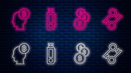 Set line USB flash drive, Cryptocurrency coin Bitcoin, Bitcoin think and Cryptocurrency key. Glowing neon icon on brick wall. Vector