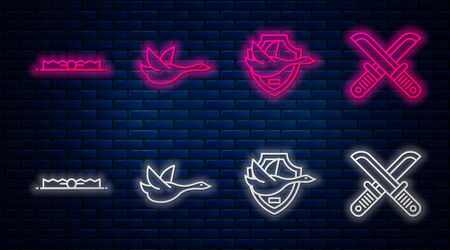 Set line Flying duck, Flying duck on shield, Trap hunting and Crossed hunter knife. Glowing neon icon on brick wall. Vector