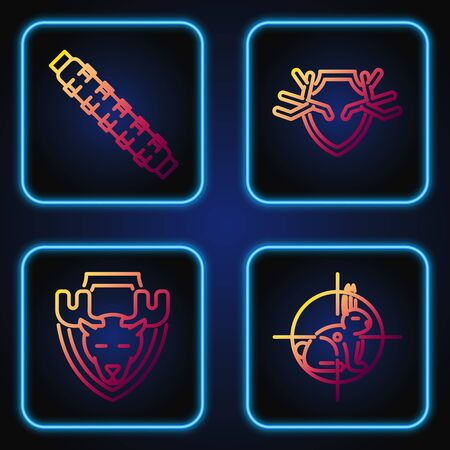 Set line Hunt on rabbit with crosshairs, Moose head on shield, Hunting cartridge belt with cartridges and Deer antlers on shield. Gradient color icons. Vector Illustration