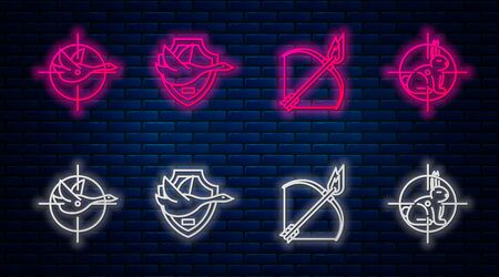 Set line Flying duck on shield, Bow and fire arrow, Hunt on duck with crosshairs and Hunt on rabbit with crosshairs. Glowing neon icon on brick wall. Vector