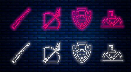 Set line Bow and fire arrow, Moose head on shield, Hunting gun and Trap hunting. Glowing neon icon on brick wall. Vector