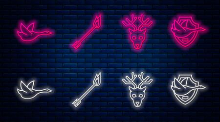 Set line Flame arrow, Deer head with antlers, Flying duck and Flying duck on shield. Glowing neon icon on brick wall. Vector