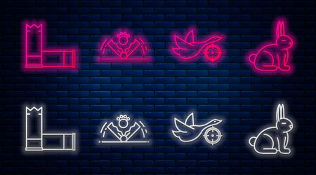 Set line Trap hunting, Hunt on duck with crosshairs, Cartridges and Rabbit. Glowing neon icon on brick wall. Vector