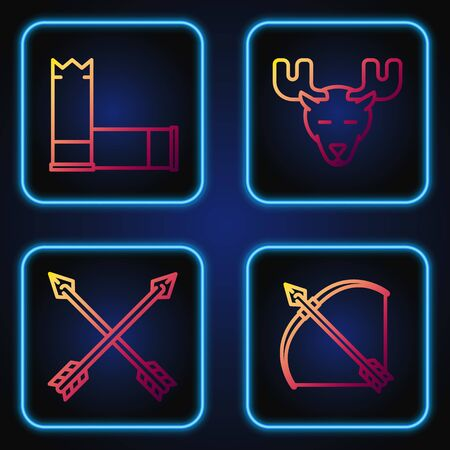 Set line Bow and arrow in quiver, Crossed arrows, Cartridges and Moose head with horns. Gradient color icons. Vector