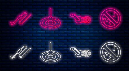 Set line Fishing float in water, Spinning reel for fishing, Fishing line with hook and float and No fishing. Glowing neon icon on brick wall. Vector