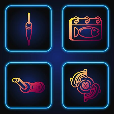 Set line Fish, Spinning reel for fishing, Fishing float and Calendar with a fish. Gradient color icons. Vector
