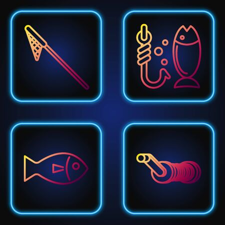 Set line Spinning reel for fishing, Fish, Fishing net and Fishing. Gradient color icons. Vector