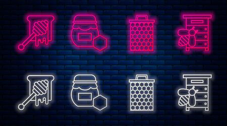 Set line Jar of honey, Honeycomb, Honey dipper stick with dripping honey and Hive for bees. Glowing neon icon on brick wall. Vector