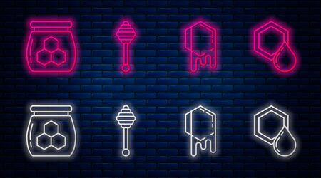 Set line Honey dipper stick, Honeycomb, Jar of honey and Honeycomb. Glowing neon icon on brick wall. Vector