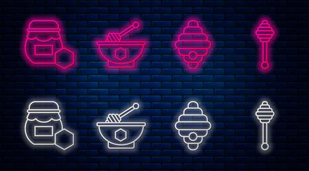 Set line Honey dipper stick and bowl, Hive for bees, Jar of honey and Honey dipper stick. Glowing neon icon on brick wall. Vector