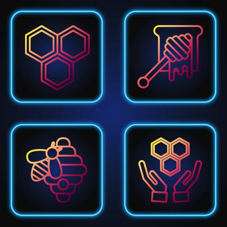 Set line Honeycomb and hands, Hive for bees, Honeycomb and Honey dipper stick with dripping honey. Gradient color icons. Vector
