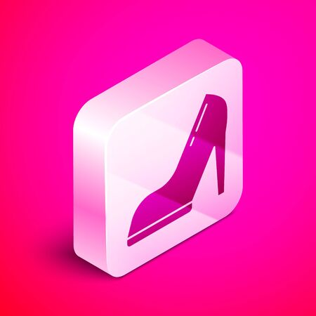 Isometric Woman shoe with high heel icon isolated on pink background. Silver square button. Vector Illustration