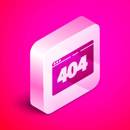 Isometric Page with a 404 error icon isolated on pink background. Template reports that the page is not found. Silver square button. Vector Illustration